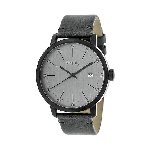 Simplify The 2500 Leather-Band Men's Watch w/ Date - Charcoal SIM2505