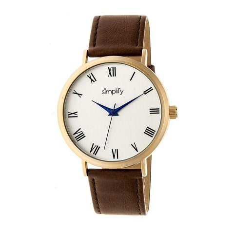 Simplify The 2900 Leather-Band Watch - Gold/Brown SIM2903