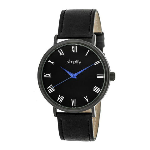 Simplify The 2900 Leather-Band Watch - Black SIM2904