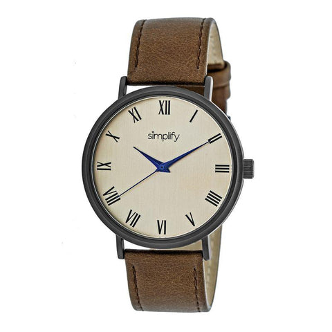 Simplify The 2900 Leather-Band Watch - Black/Brown SIM2905