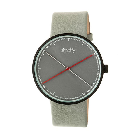 Simplify The 4100 Leather-Band Watch - Black/Grey SIM4102