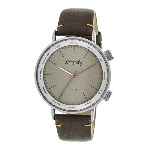 Simplify The 3300 Leather-Band Watch - Dark Brown/Grey SIM3304
