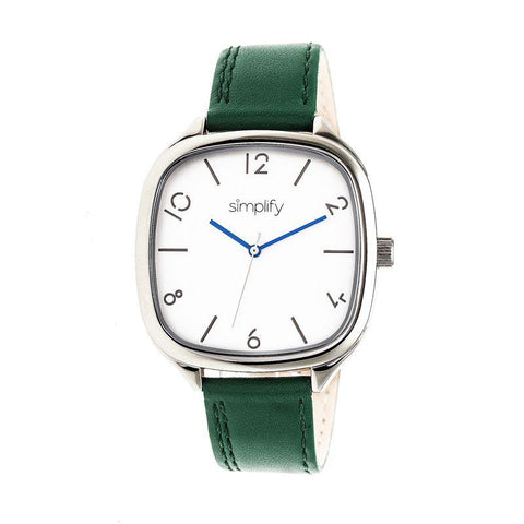 Simplify The 3500 Leather-Band Watch - Silver/Green SIM3504