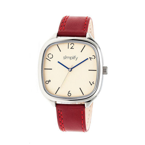 Simplify The 3500 Leather-Band Watch - Silver/Red SIM3506
