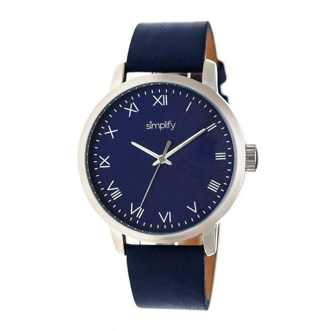 Simplify The 4200 Leather-Band Watch - Navy SIM4204