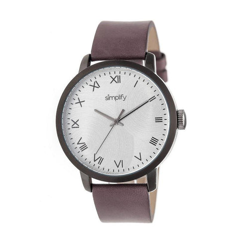 Simplify The 4200 Leather-Band Watch - Plum SIM4206