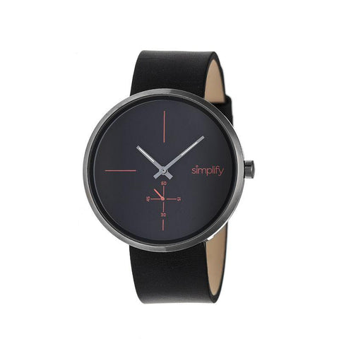 Simplify The 4400 Leather-Band Watch - Black SIM4404