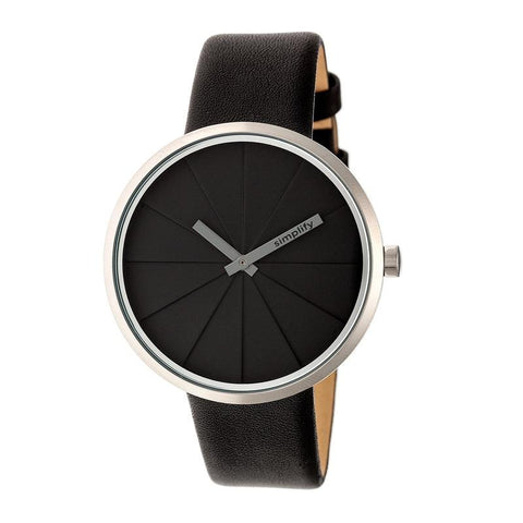 Simplify The 4000 Leather-Band Watch - Black SIM4007