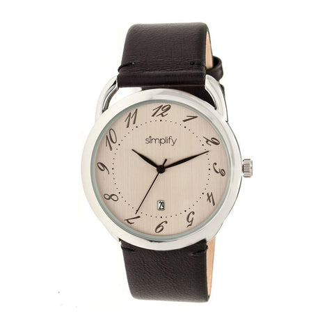 Simplify The 4900 Leather-Band Watch w/Date - Silver/Black SIM4902