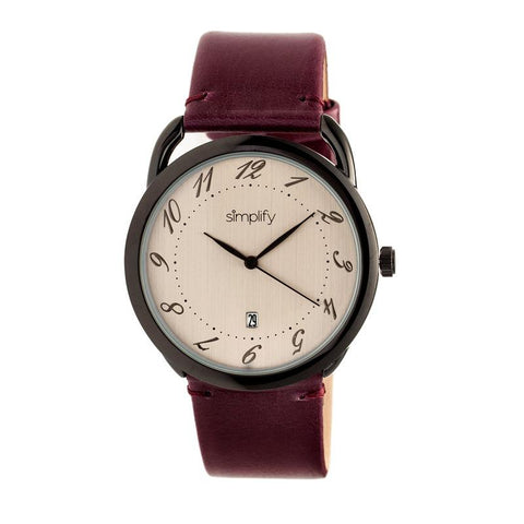 Simplify The 4900 Leather-Band Watch w/Date - Black/Plum SIM4904