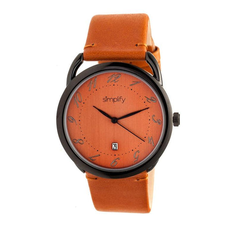 Simplify The 4900 Leather-Band Watch w/Date - Black/Orange SIM4905