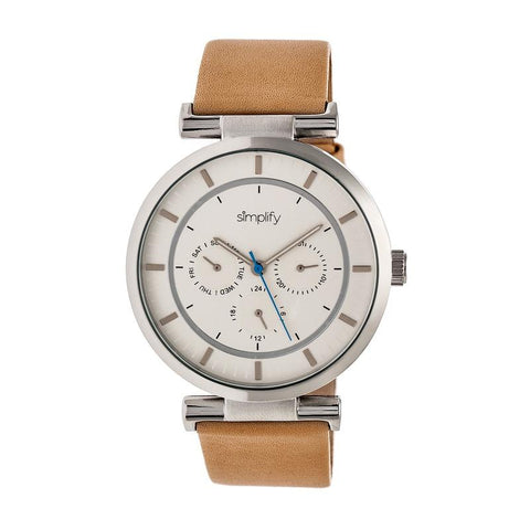 Simplify The 4800 Leather-Band Watch w/Day/Date - Khaki/Silver SIM4805