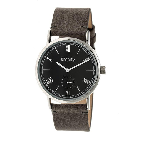 Simplify The 5100 Leather-Band Watch - Charcoal/Black SIM5104