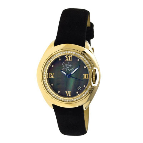 Sophie & Freda Belize MOP Ladies Watch w/ Date - Gold/Black SAFSF1004