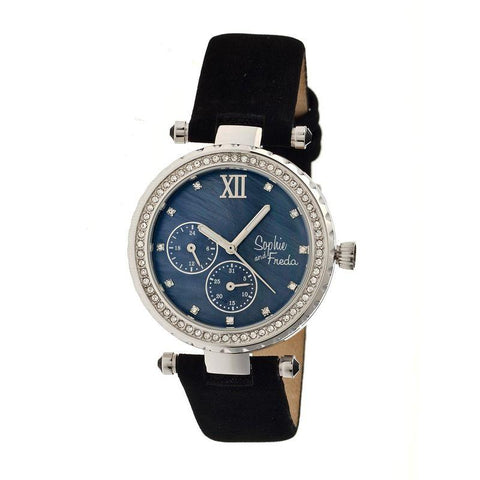 Sophie & Freda Montreal MOP Leather-Band Watch - Silver/Black SAFSF3002