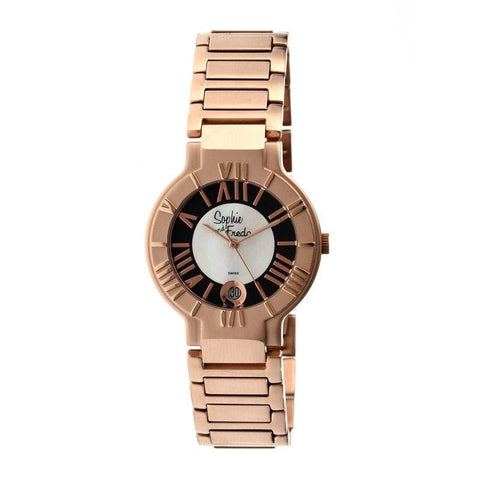 Sophie & Freda Rushmore MOP Ladies Bracelet Watch - Rose Gold/Black SAFSF1205