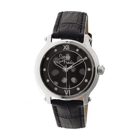 Sophie & Freda Siena Leather-Band Ladies Watch - Silver/Black SAFSF2606