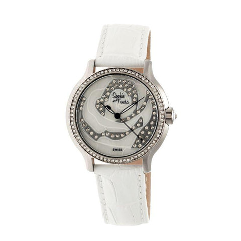 Sophie & Freda Monaco MOP Swiss Ladies Watch - Silver/White SAFSF2701