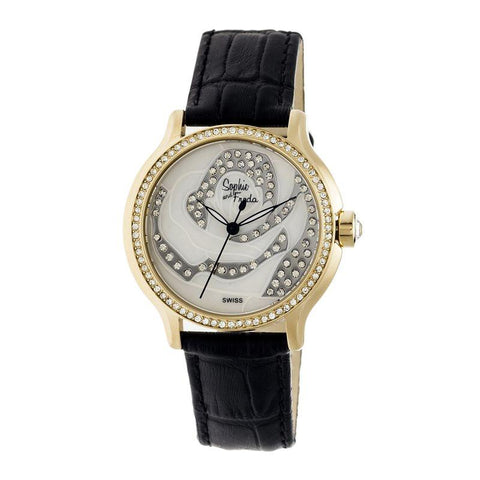 Sophie & Freda Monaco MOP Swiss Ladies Watch - Gold/Black SAFSF2705