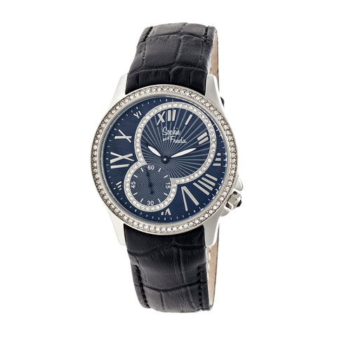 Sophie & Freda Toronto Leather-Band Ladies Watch - Silver/Black SAFSF2801