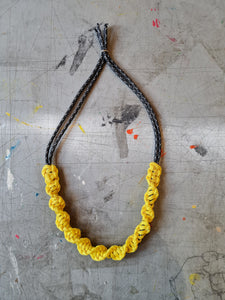 Macrame Necklace - Black + Yellow