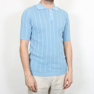 Knitted Short Sleeved Polo - Blue