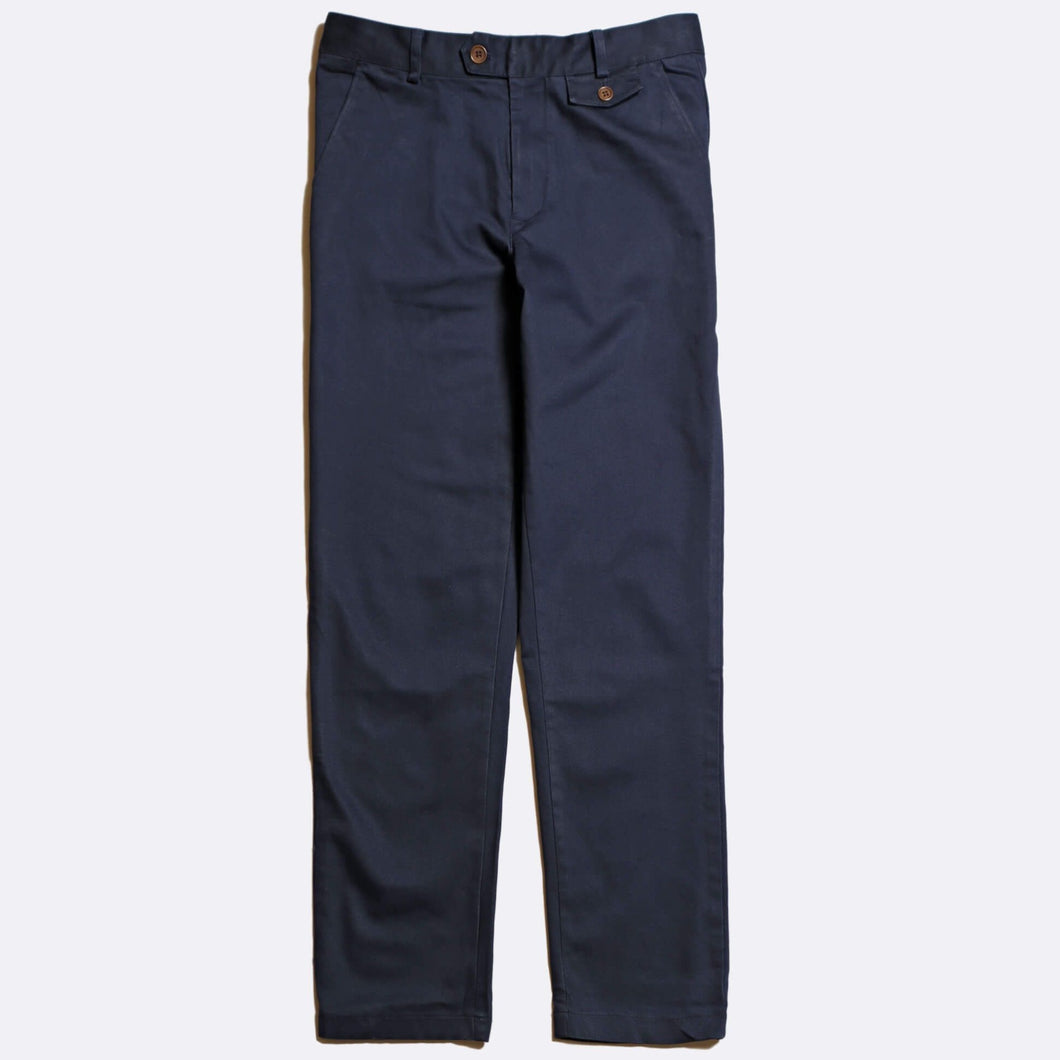 Cotton Twill Trousers - Navy Blue