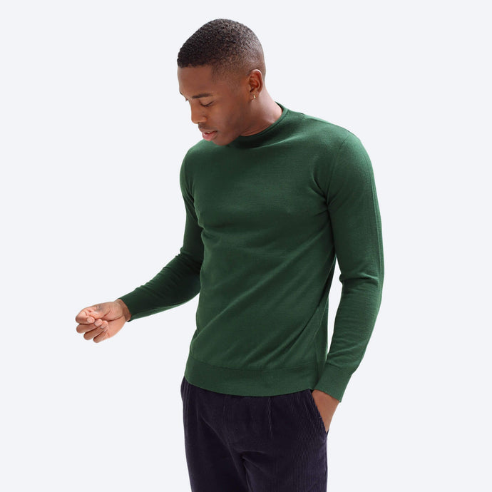 Fine Roll Neck Top - Green