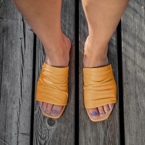 Leather Slips On - Yellow