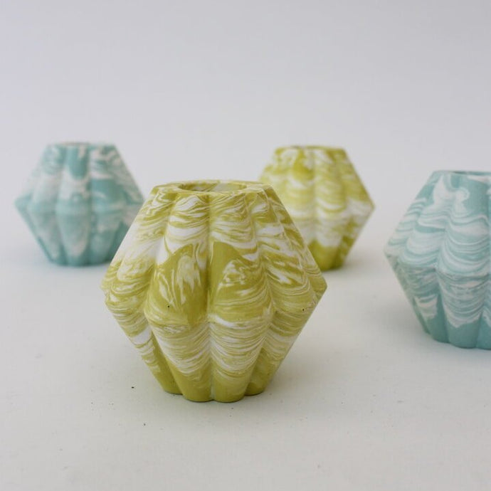 Marbled Candle Holder - Lime, Turquoise or Orange