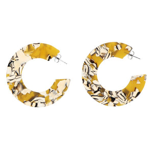 Large Flat Hoops - Mustard and Black
