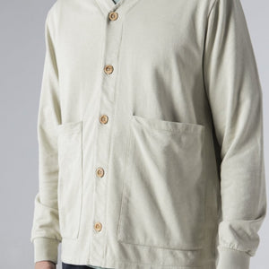 Cotton Cardigan with Buttons - Tidal Foam