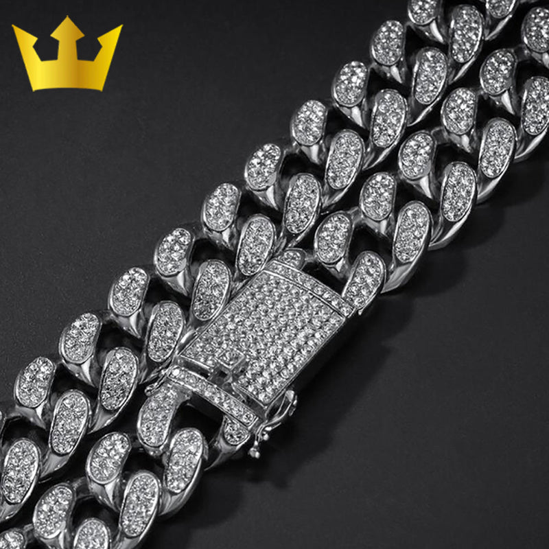 20mm Ice Out Heavy Hip Hop Necklace with Bracelet - MajesticVUE