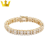 Double Row Zircon Round Square Iced Out Barcelet - Majestic-Vue