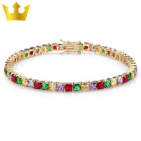 Hip Hop Gold/Silver Plated Iced Out  Colorful Bracelet - MajesticVUE