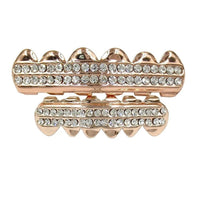 Rose Gold Iced Out CZ Teeth Grillz - MajesticVUE
