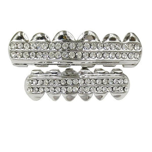 Silver Iced Out CZ Teeth Grillz - MajesticVUE
