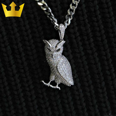 18K Gold Majestic Owl. White / No Chain (Pendant Only) Necklaces