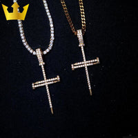 18K Gold Iced Out Nail Cross Necklace - MajesticVUE