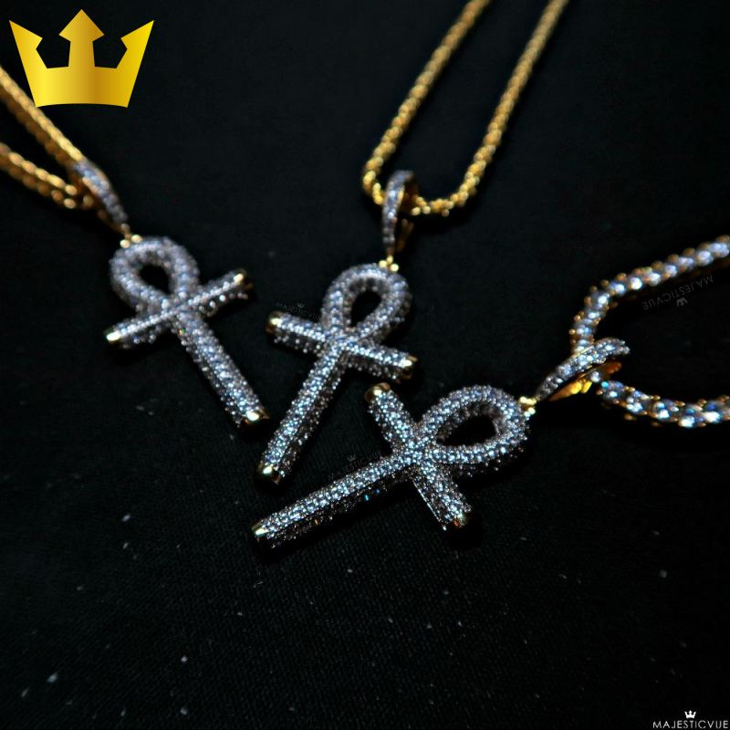 18K Gold Ankh Cross Iced Out Necklace - MajesticVUE