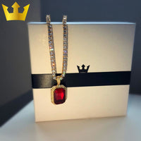 18K Gold Chain Blood Ruby Necklace - MajesticVUE