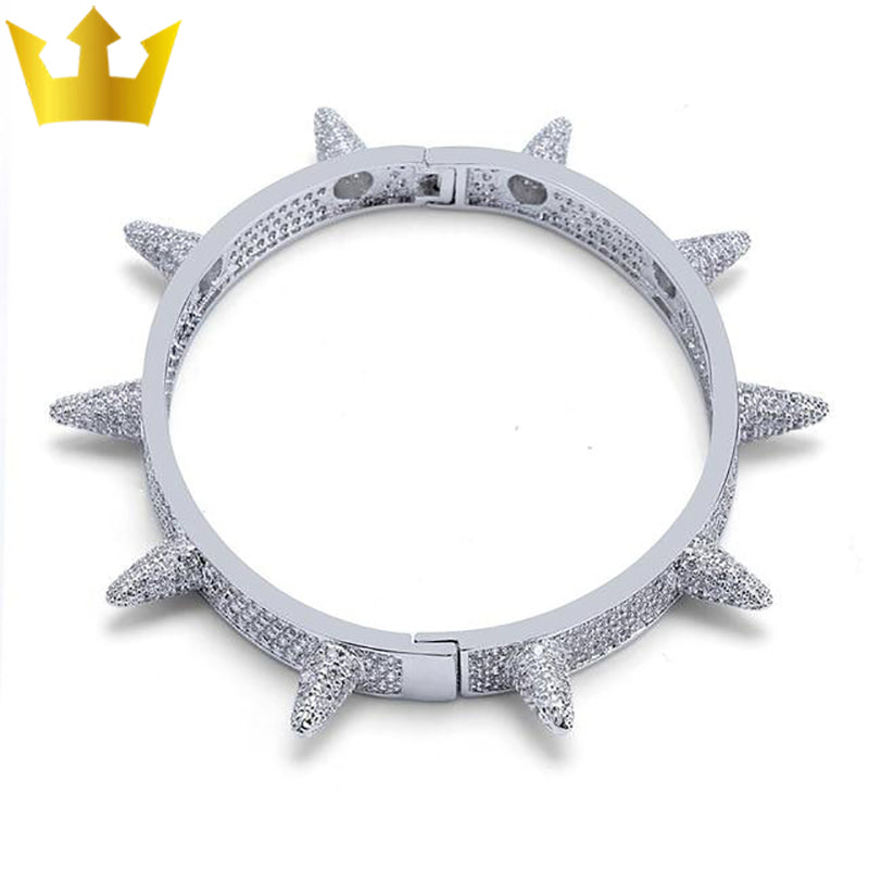 Iced Out Spikes Bangles Rivet Cone Bracelet - MajesticVUE