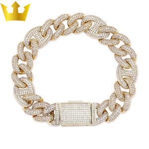 Lock Clasp 14mm Heavy Iced Out Cuban Bracelet - MajesticVUE
