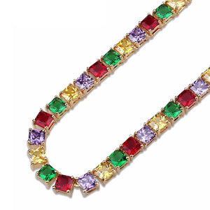 Gold CZ Stone Colorful Tennis Chain Necklace - MajesticVUE