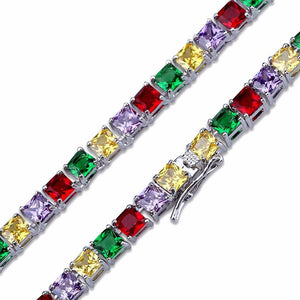 Silver CZ Stone Colorful Tennis Chain Necklace - MajesticVUE