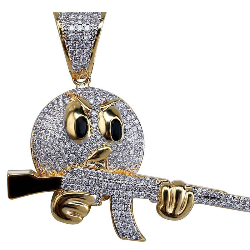 Hip Hop Face Character With Gun Pendant
