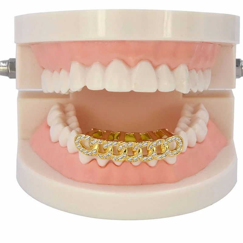 Gold Iced Out Lower Jaw Grillz - MajesticVUE