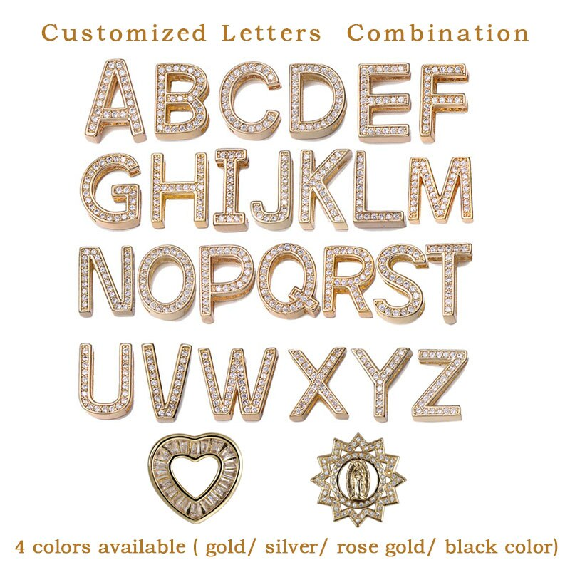 Stainless Steel DIY CZ Letter Bracelets Adjustable Buckle