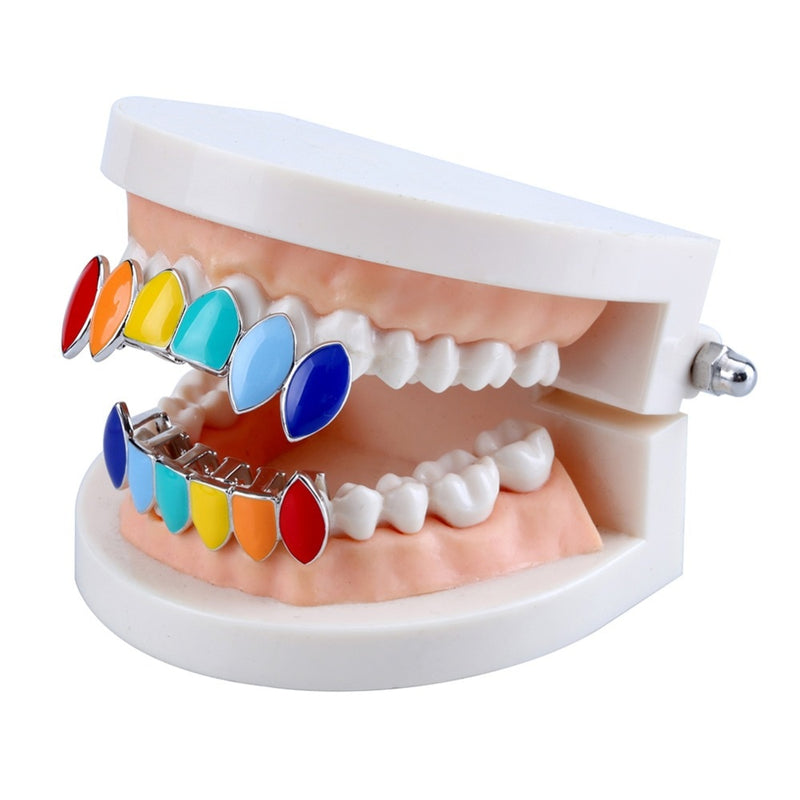Hip Hop Copper Rainbow Teeth Grillz - MajesticVUE