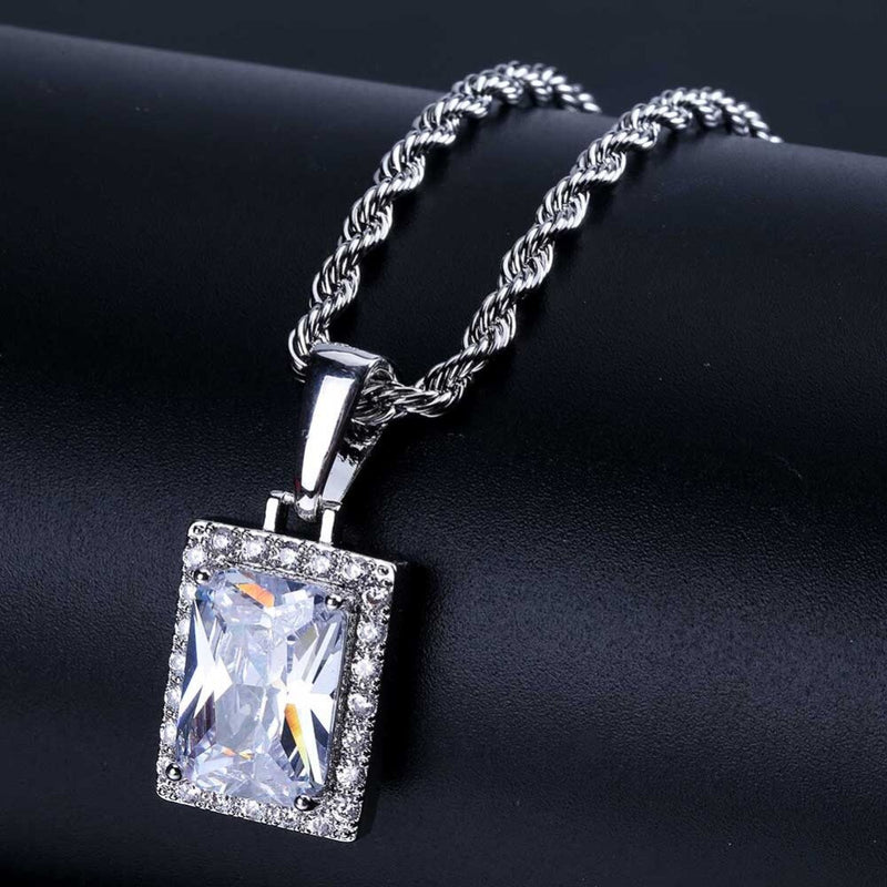 Hip Hop Crystal Rhinestion Pendant Necklace